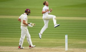 Aaron Beard of Essex celebrates after taking the wicket of Ben Green of Somerset.