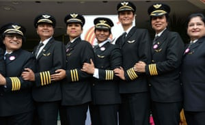 New Delhi, IndiaPilots from Air India pose for a photograph. A non-stop all-women flight from Delhi to San Franscisco travelled via the Pacific Ocean and returned via the Atlantic Ocean, completing a round trip of the world with 16 crew members and 250 passengers on-board