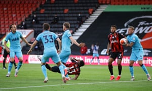 Bouernemouth's Callum Wilson tries an overhead kick and scores but it's ruled out.