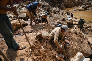Miners working in a ruby mine in Mogok, north of Mandalay.