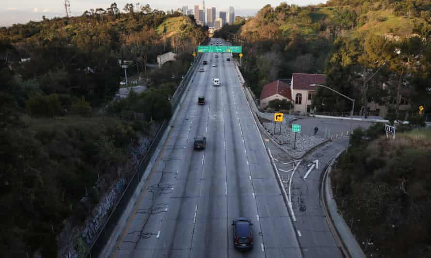 The 110 freeway in Los Angeles. Gavin Newsom, the California governor, has told Californians to stay home.