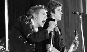 The Sex Pistols' Johnny Rotten and Steve Jones. Photograph: Redferns/Ian Dickson