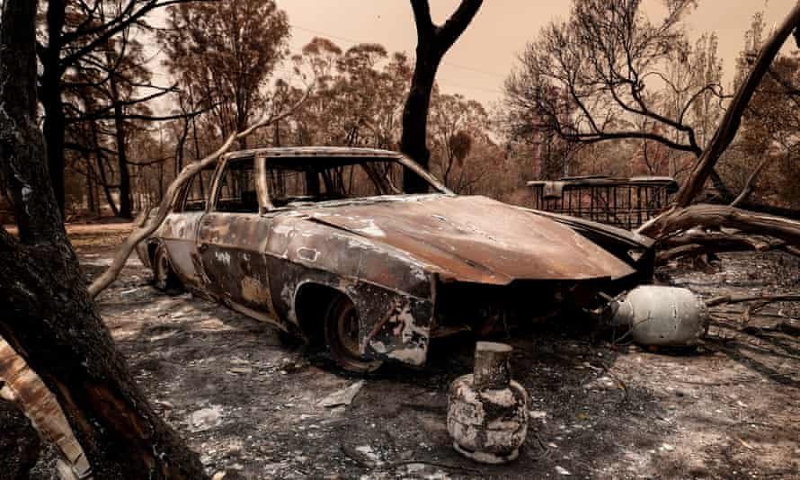 A car destroyed in this year's Victorian fires
