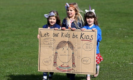 Primary school pupils at a rally held by their parents in Preston Park, Brighton on Tuesday.