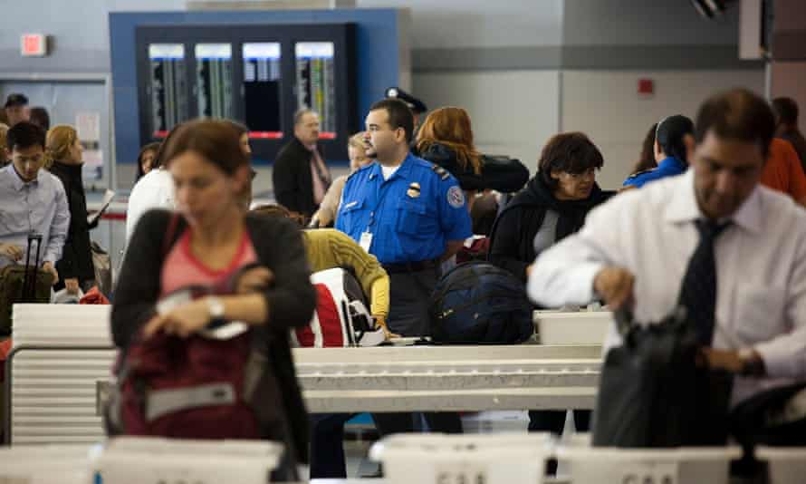 A TSA checkpoint at John F Kennedy International Airport in New York City.