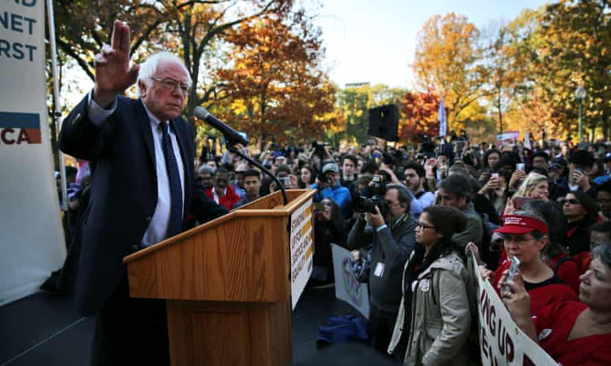 Former Democratic presidential candidate Senator Bernie Sanders speaks during a Capitol Hill rally to promote a people's agenda for economic and social justice.