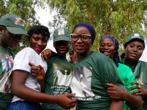 Teenage girls campaigning for President Jammeh, who is seeking a fifth term.