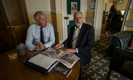 Jeremy Corbyn in his office with Ian Lavery MP.