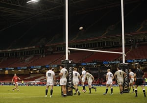 Wales' Callum Sheed converts their fourth try.