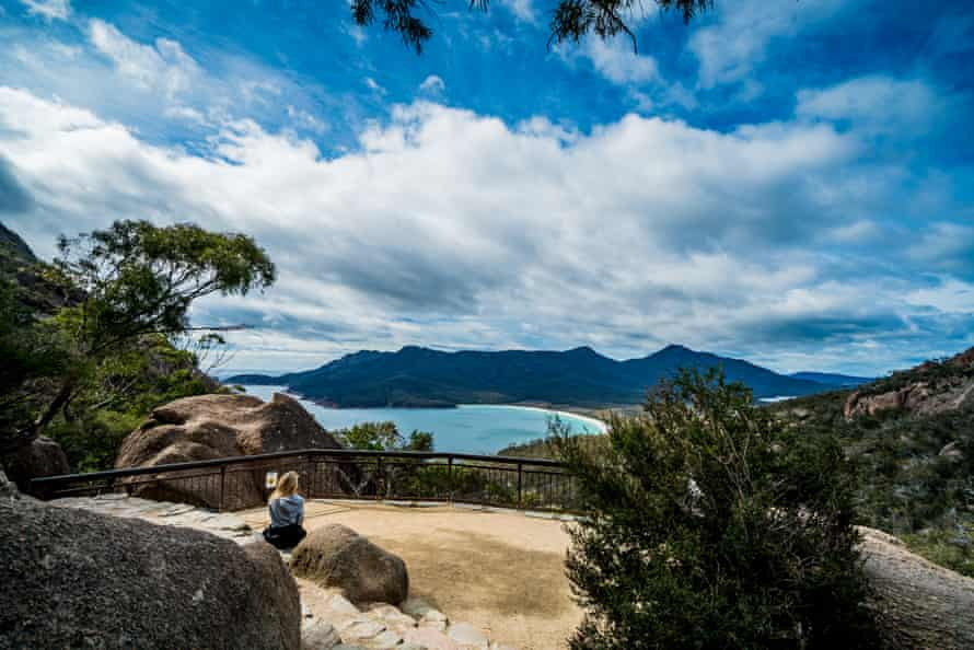 The Wineglass Bay Track, which starts at a lookout and descends onto the beautiful white sand beach