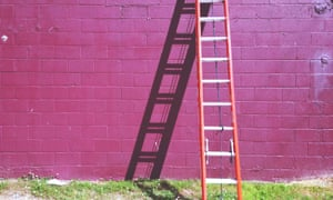 A ladder leaning against a pink brick wall