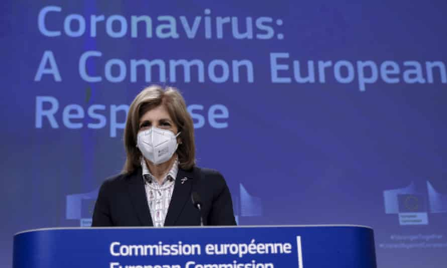 Stella Kyriakides, EU health commissioner, giving a news conference in Brussels, Belgium, in March.