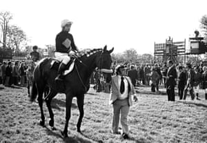Red Rum and his lad Billy Ellison in the Parade Ring before the Charisma Records Handicap Chase at Kempton Park
