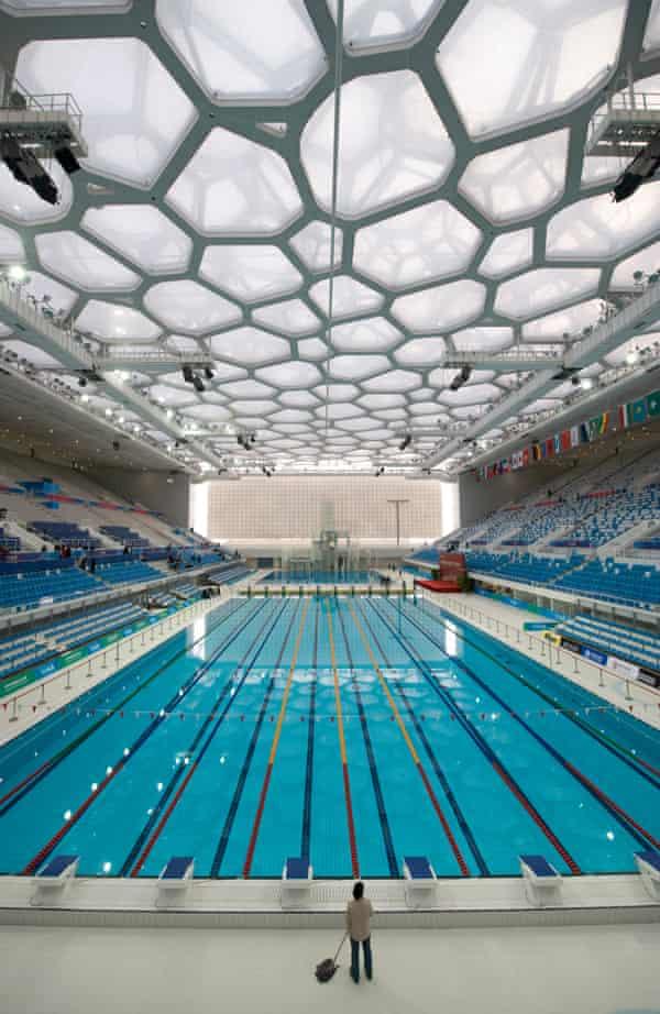 Bubble-wrapped … inside the National Aquatics Centre.