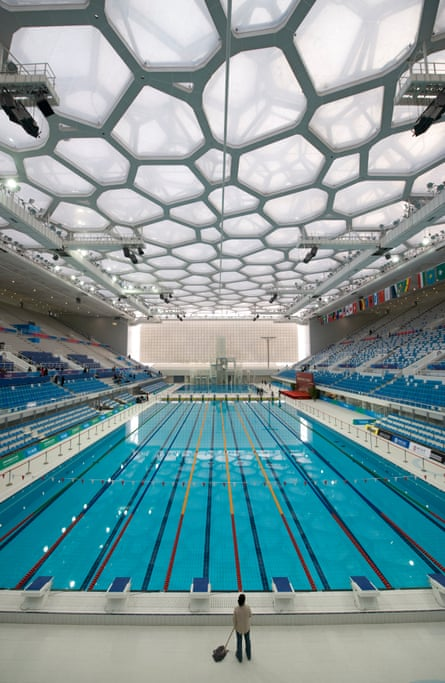 Bubble-wrapped … inside the National Aquatics Centre.