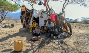 A Yemeni family in a camp for internally displaced people on the outskirts of the southern city of Taiz