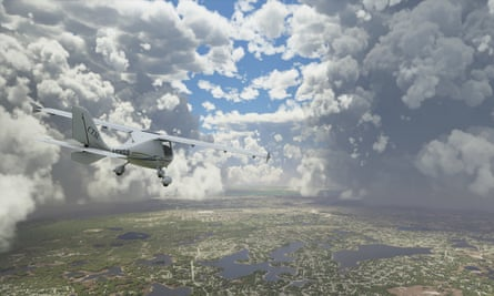 A simulated plane approaches a storm over Florida