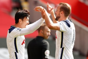 Son celebrates with Kane.