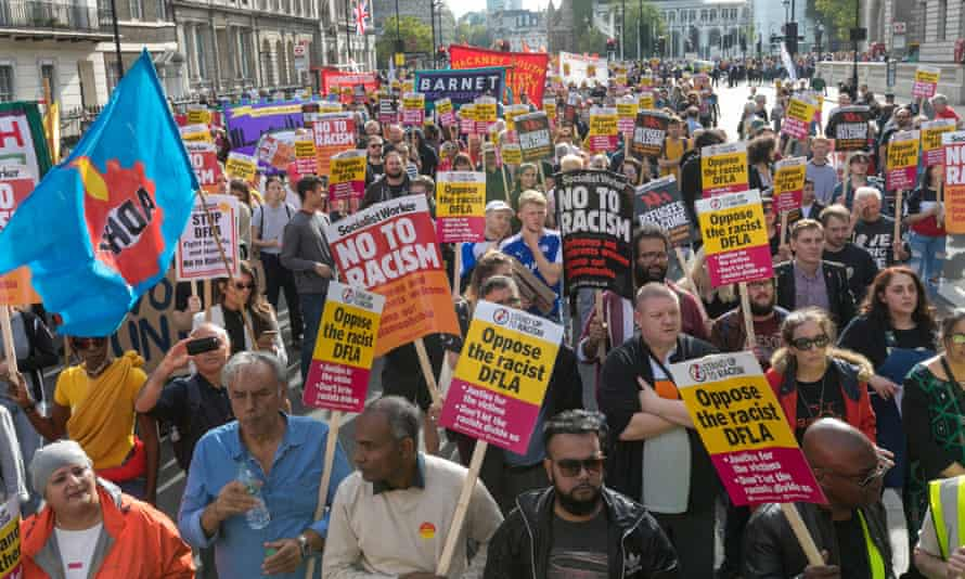 Thousands of people turn out in response to the DFLA march.