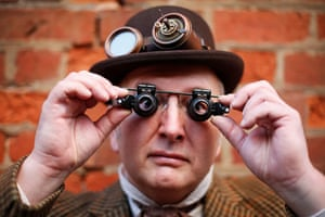 Mike Espin from East Yorkshire comes to the event every year. This year he wore his steampunk outfit as it was too windy for his Gothic one
