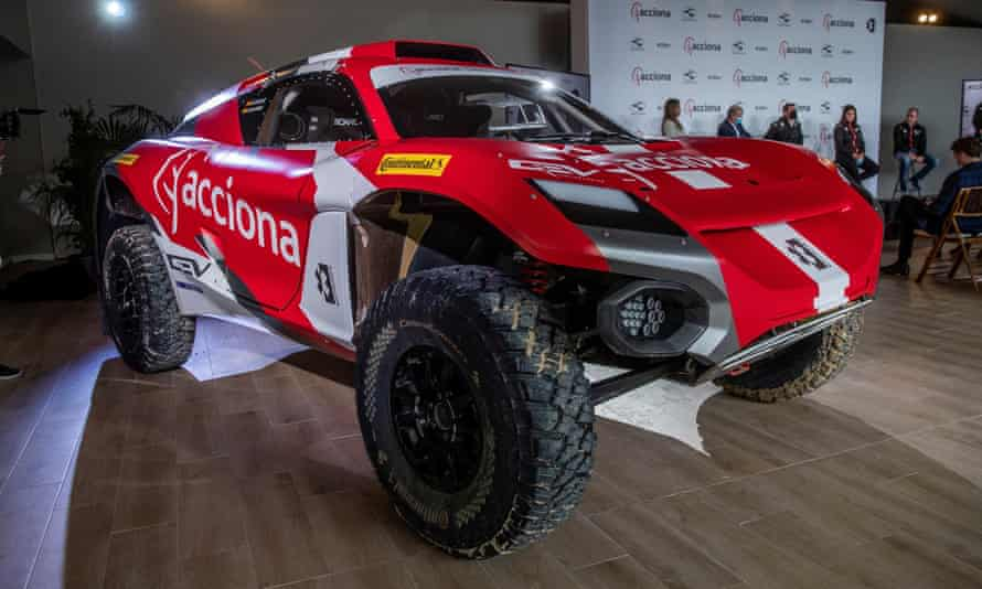 The Acciona Sainz XE-Team's racing car that will race in Extreme-E, the off-road racing series that advocates to raise awareness for climatic change.