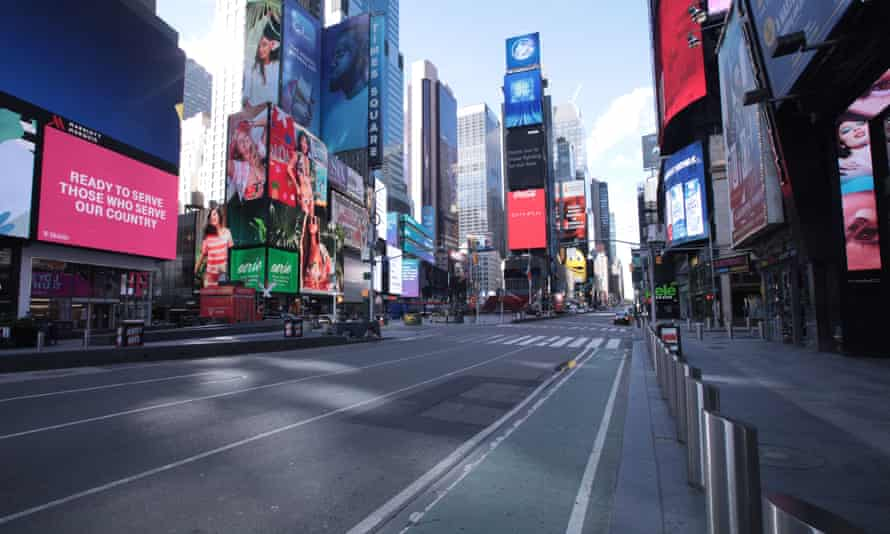 A near-empty Times Square in New York City.
