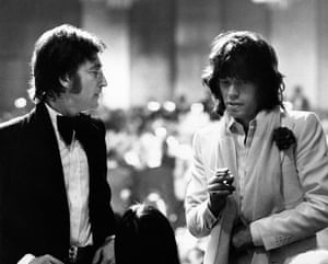 John Lennon and Mick Jagger in Los Angeles, 1974.