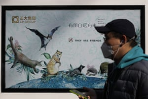 A man wearing a protective facemask walks by a poster promoting the protection of wild animals after authorities cracked down on wild animal markets following the coronavirus outbreak in Beijing.