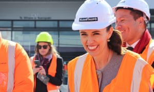 New Zealand Prime Minister Jacinda Ardern visits a construction site on the campaign trail in Taupo, New Zealand