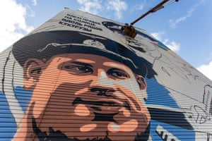 Surgut, RussiaArtists paint a mural of the pilots Captain Damir Yusupov and Georgy Murzin on the side of a building. The pilots successfully landed an Airbus carrying 233 people into a cornfield last month after the plane hit a flock of gulls, disrupting its engines
