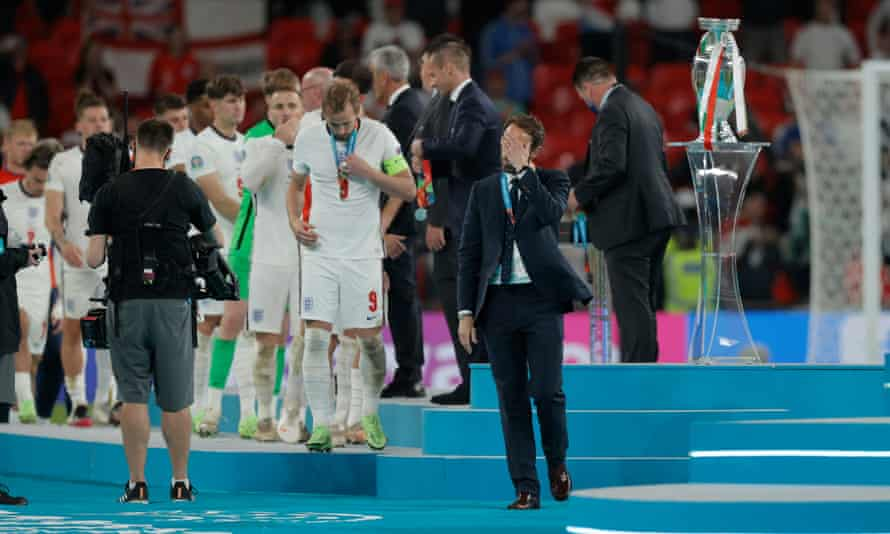 Despair for England's manager Gareth Southgate and his players after the Euro 2020 final defeat by Italy.