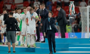 Gareth Southgate looks dejected after receiving the silver medal.