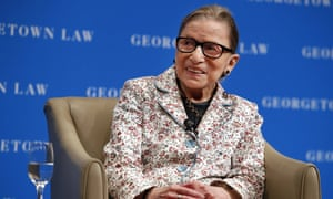Ruth Bader Ginsburg smiles as she takes questions from first-year students at Georgetown Law.