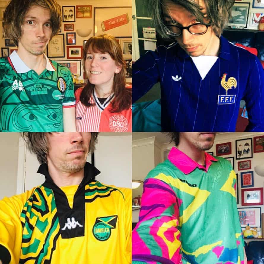Football fan Alex Pratchett in a selection of his team tops