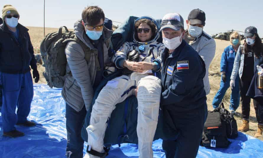 Astronaut Jessica Meir shortly after the landing of the space capsule that brought her to Earth near the Kazakh town of Dzhezkazgan.
