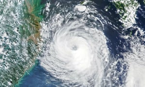 A satellite image of Typhoon Bavi approaching the Korean peninsula.