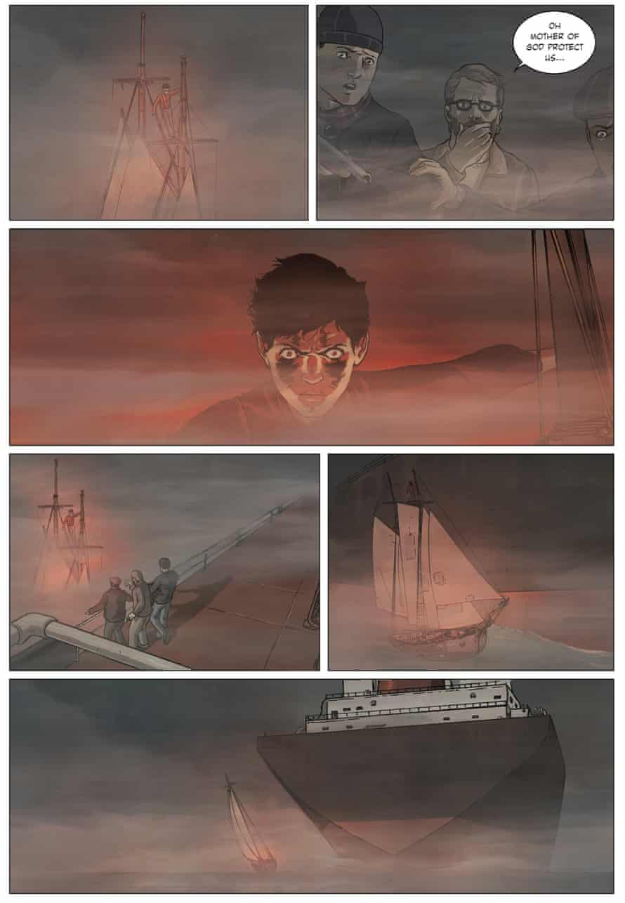 A page from The Adventures of John Blake: The Mystery of the Ghost Ship by Philip Pullman and Fred Fordham