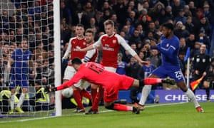 Chelsea's Michy Batshuayi, Arsenal's Rob Holding, David Ospina, Shkodran Mustafi and Granit Xhaka look on as the ball hits the upright.