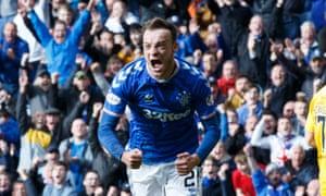 Rangers' Brandon Barker celebrates scoring after coming off the bench against Livingston.