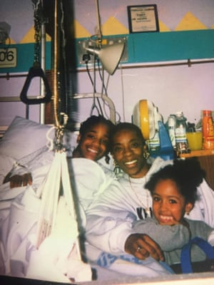 Nikeh Gray in hospital with her mother and sister.