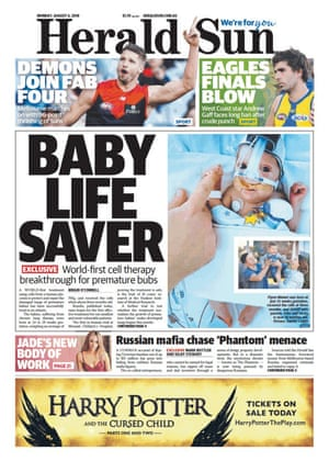 Front page of the Herald Sun