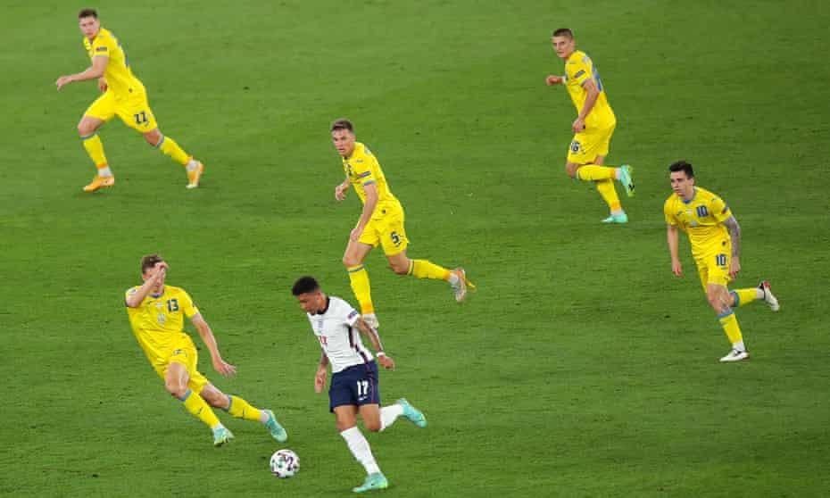 Jadon Sancho of England during the UEFA Euro 2020 Championship Quarter-final match between Ukraine and England.