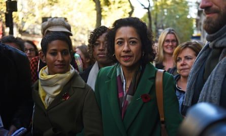 Naga Munchetty with Samira Ahmed, right, at the central London employment tribunal