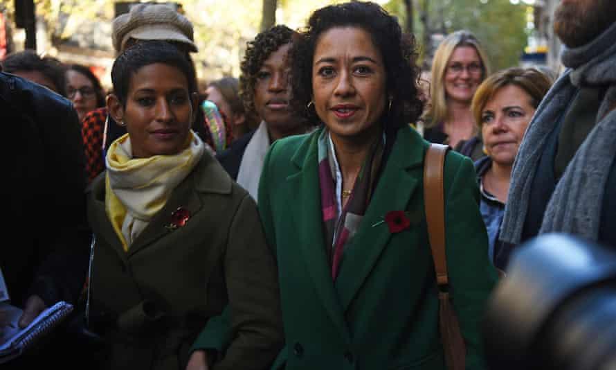 Samira Ahmed, accompanied by Naga Munchetty, arrives at the central London employment tribunal.