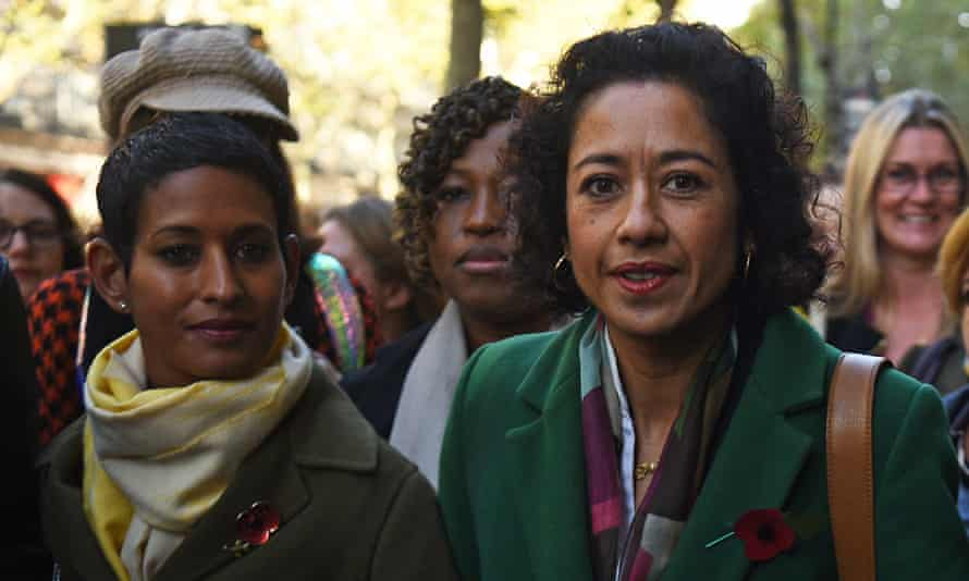 Samira Ahmed, right, arrives at an employment tribunal in London on 28 October with Naga Munchetty, left.