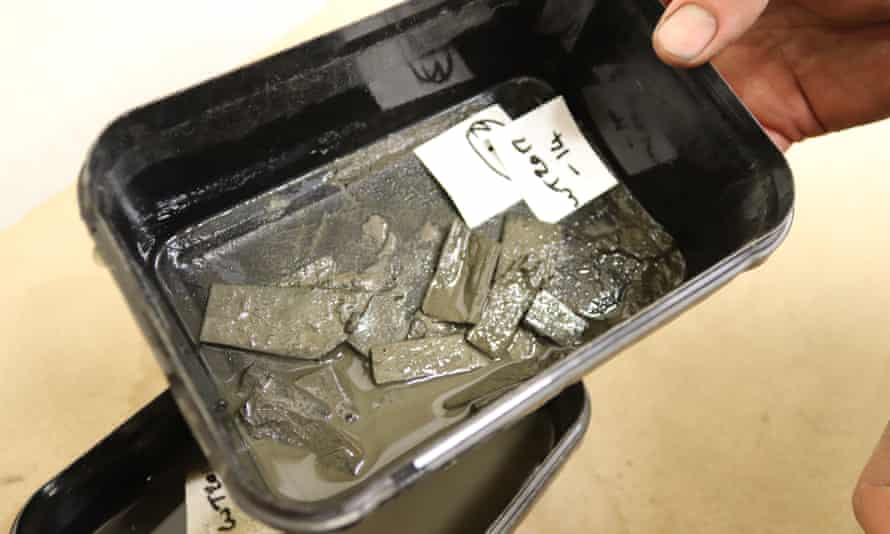 Some of the newly discovered Vindolanda tablets before conservation.