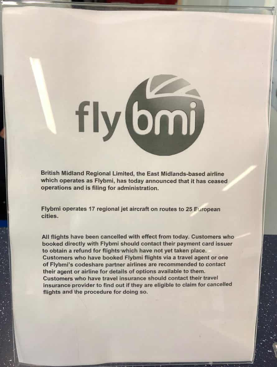 A notice at Bristol airport on Sunday informing passengers that flybmi flights have been cancelled.