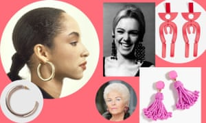 Clockwise from left: Sade and Topshop earrings, Edie Sedgwick and Mango earrings, Pat Butcher and J Crew earrings.