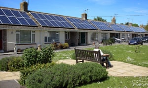 Solar panels on social housing in Somerset