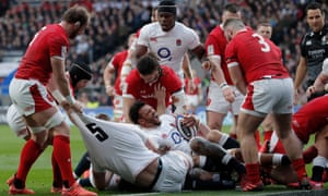 England playing Wales during the 2020 Six Nations